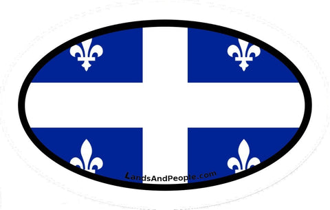 Flag of Quebec, Fleurdelisé, fleur-de-lis Car Bumper Sticker Decal Oval