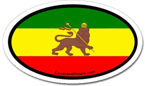 Ethiopia Lion of Judah Rastafari Flag Car Bumper Sticker Decal Oval