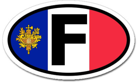 F France Flag Car Bumper Vinyl Sticker Decal Oval