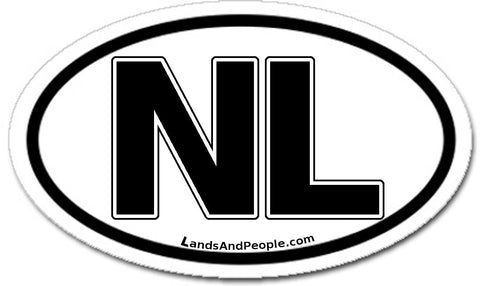 NL Netherlands Sticker Oval Black and White