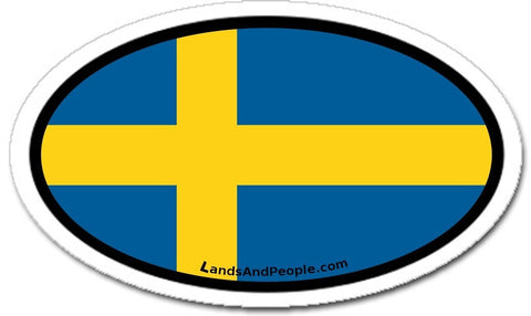 Sweden Swedish Flag Sticker Decal Oval