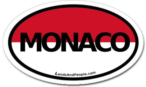 Monaco Flag Sticker Oval