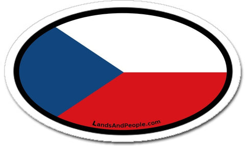 Czech Republic Flag Sticker Decal Oval