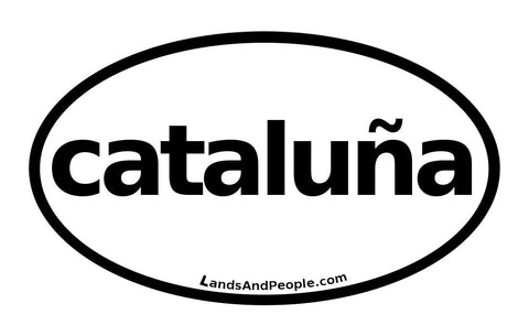 Cataluña, Catalonia in Spanish, Sticker Oval Black and White