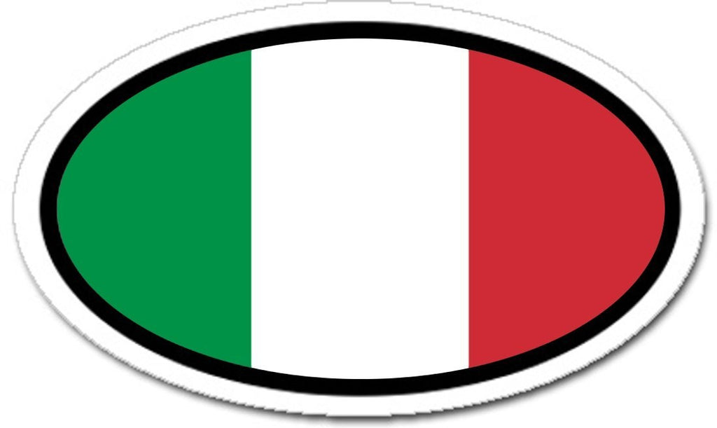 Italian flag car bumper vinyl sticker oval