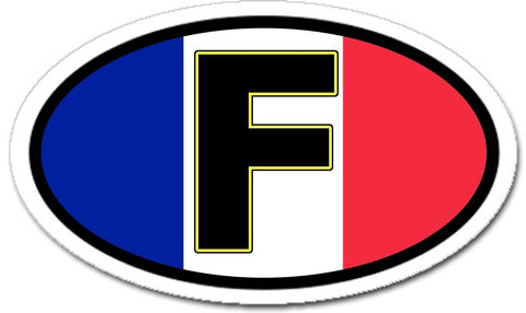 F France French Flag Sticker Oval