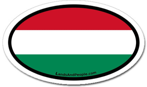 Hungary Flag Sticker Oval