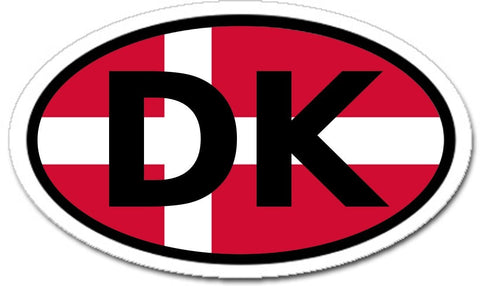 Denmark DK Danish Flag Car Bumper Sticker Decal Oval