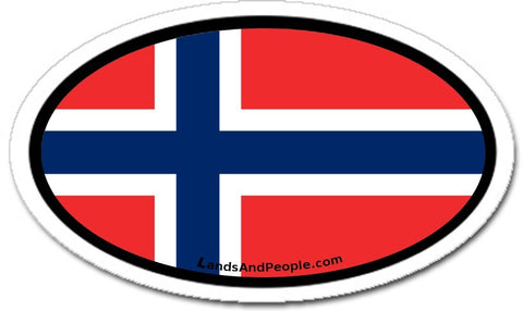 Norway Flag Car Sicker Decal Oval
