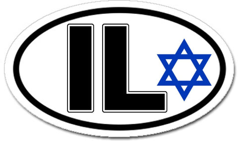 IL Israel Star of David Car Sticker Oval
