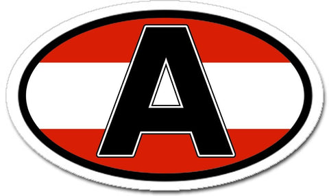 A Austria and Austrian Flag Car Bumper Sticker Decal Oval - Lands & People