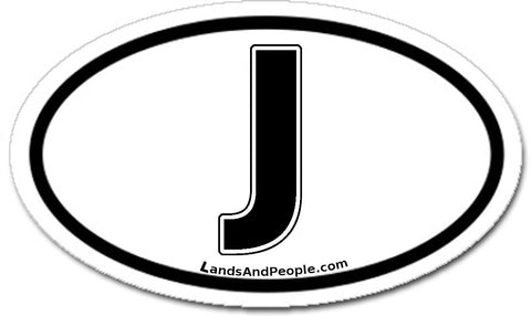 J Japan Car Sticker Oval Black and White
