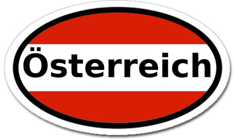 Austria Österreich and Austrian Flag Car Bumper Sticker Oval