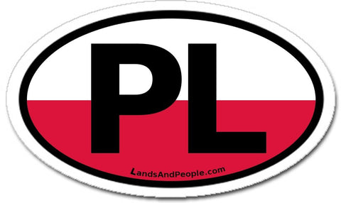 PL Poland Flag Sticker Oval