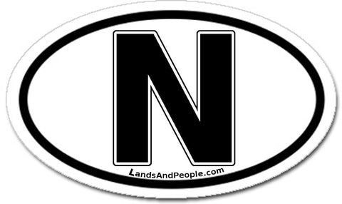 N Norway Car Sicker Decal Oval Black and White