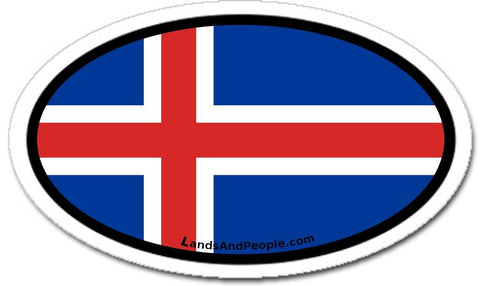 Iceland Flag Sticker Oval