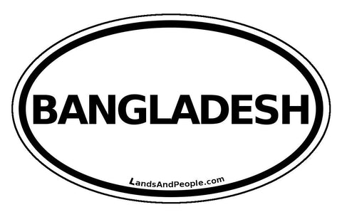 Bangladesh Sticker Oval Black and White