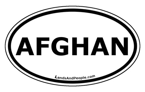 Afghan Afghanistan Sticker Oval Black and White