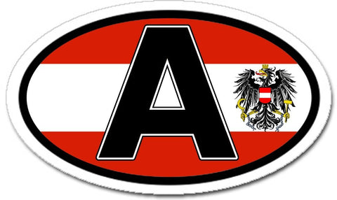 A Austria Austrian Eagle and Flag Car Bumper Sticker Oval