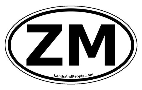 ZM Zambia Sticker Oval Black and White