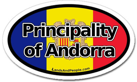 Principality of Andorra Flag Sticker Oval