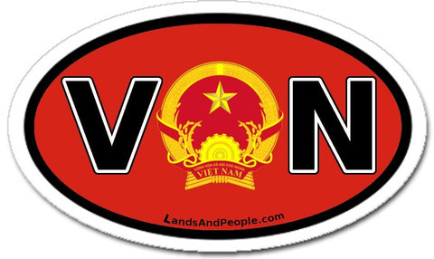 VN Vietnam Flag and State Emblem Sticker Oval