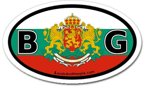 BG Bulgaria Flag Coat of Arms Car Bumper Sticker Decal Oval