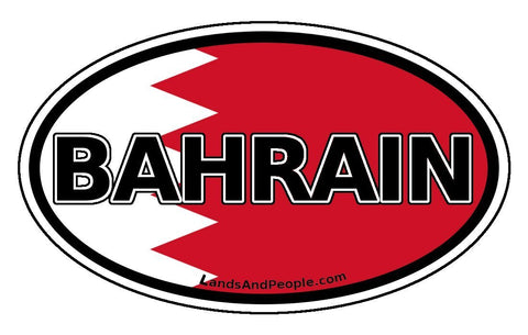 Bahrain Flag Sticker Oval