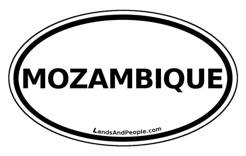 Mozambique Sticker Oval Black and White