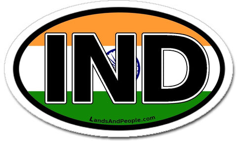 IND India Flag Sticker Oval