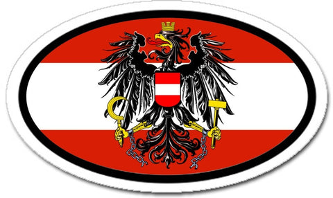 Austrian Flag Eagle Car Bumper Sticker Decal Oval - Lands & People