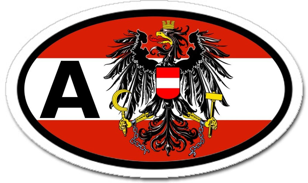 A austria austrian eagle flag car bumper sticker oval