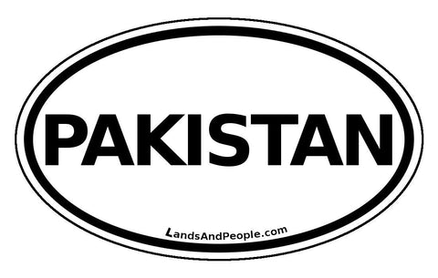 Pakistan Sticker Oval Black and White