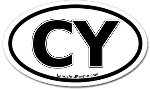 CY Cyprus Sticker Oval Black and White