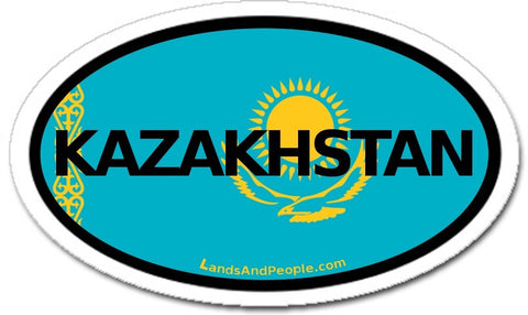 Kazakhstan Flag Sticker Oval
