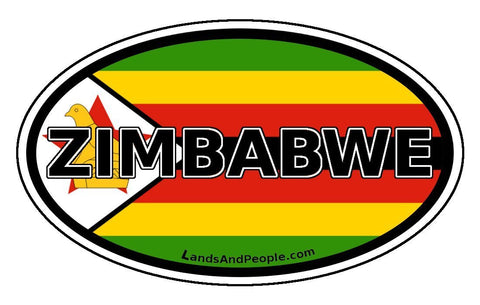 Zimbabwe Flag Sticker Oval