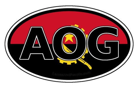 AOG Angola Flag Sticker Oval