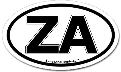 ZA Zuid Afrika South Africa Car Sticker Oval Black and White