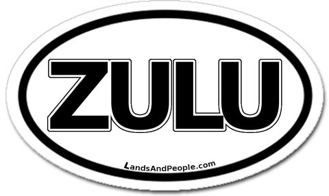 Zulu South Africa Car Sticker Oval Black and White