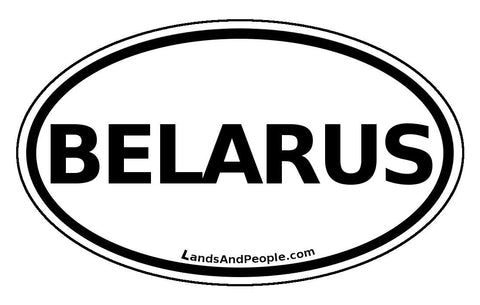 Belarus Car Bumper Sticker Decal Oval Black and White