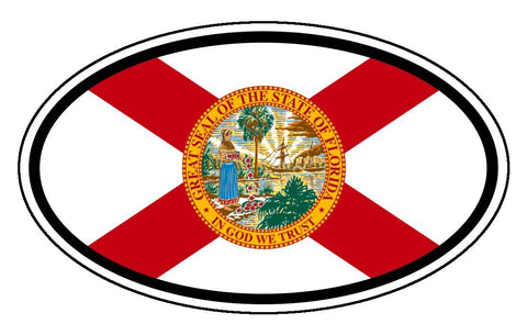 Florida State Flag Car Vinyl Sticker Decal Oval