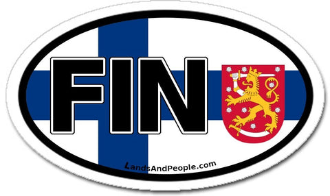 FIN Finland Flag Lion Sticker Oval