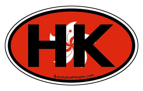 HK Hong Kong Flag Car Sticker Oval