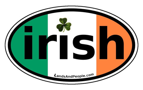 Irish Clover Ireland Flag Car Bumper Sticker Decal Oval