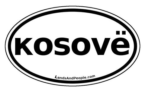 Kosovë Kosovo Sticker Oval Black and White