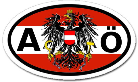 A Austria Ö Österreich and Austrian Eagle Flag Car Sticker Oval