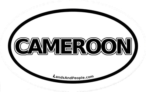 Cameroon Sticker Oval Black and White