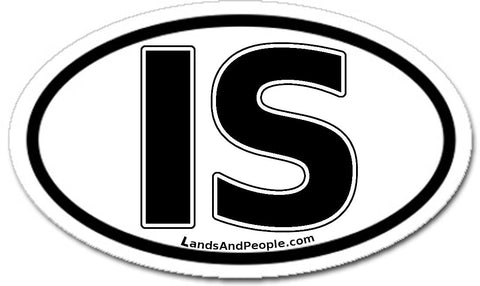 IS Iceland Sticker Oval Black and White