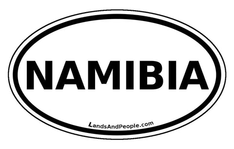 Namibia Car Sticker Oval Black and White