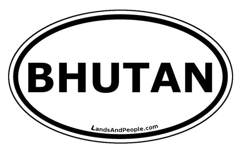 Bhutan Car Sticker Oval Black and White